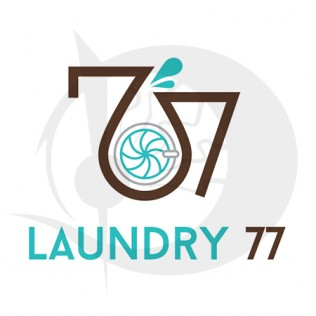 77 Laundry Logo Design